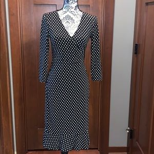 BCBG dress polka dot black white wrap small ruffle